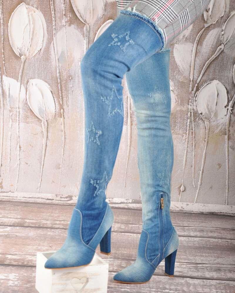 kozaki damskie jeansowe